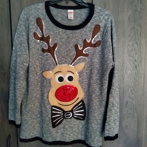 Holiday Time Plus Size Reindeer Sweater - 1X (16W)